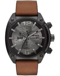 DIESEL Unisex Chronograph Overflow Tan Leather Strap Watch 54x49mm - Brown