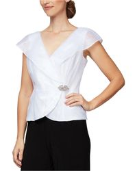 Alex Evenings Portrait-collar Embellished-side Blouse - White