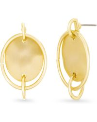 Catherine Malandrino - Interlocked Circle Yellow Gold-tone Hoop Earrings - Lyst