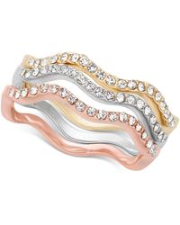 Charter Club Tri-tone 3-pc. Set Pavé Wavy Rings - Multicolor