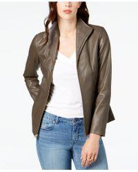 Cole Haan - Signature Petite Leather Moto Jacket - Lyst