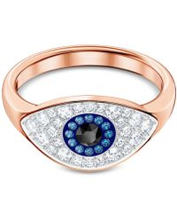 Swarovski - Rose Gold-tone Crystal Evil Eye Ring - Lyst