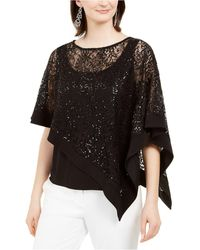 R & M Richards Sequinned-overlay Top - Black