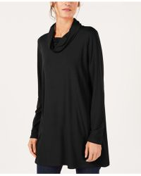 Eileen Fisher - Stretch Jersey Draped Funnel-neck Tunic, Created For Macy's - Lyst