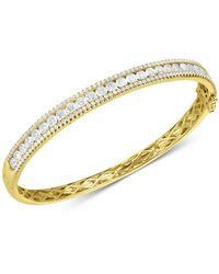 Arabella Cubic Zirconia Bangle Bracelet In Sterling Silver(also Available In 18k Gold Plated Sterling Silver) - Metallic