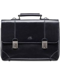 Mancini Signature Collection Dual Lock Double Compartment Laptop And Tablet Briefcase - Black