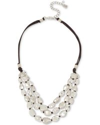 """Robert Lee Morris - Silver-tone Bead & Wax Cord Multi-row Statement Necklace, 18"""" + 3"""" Extender - Lyst"""