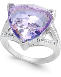 Macy's Pink Amethyst (6 Ct. T.w.) & Diamond (1/10 Ct. T.w.) Statement Ring In Sterling Silver - Multicolour