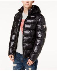 Guess Men's Hooded Puffer Coat - Black