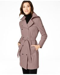 Calvin Klein Hooded Double-breasted Water-resistant Trench Coat, Created For Macy's - Multicolor