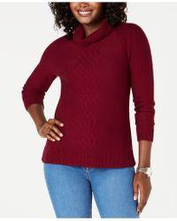 Karen Scott Petite Cotton Funnel-neck Sweater, Created For Macy's - Red