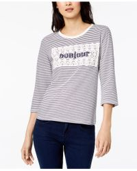 Maison Jules - Cotton Striped Crochet-overlay Bonjour Top, Created For Macy's - Lyst