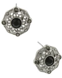 2028 - Silver-tone Black Crystal And Marcasite Button Earrings - Lyst