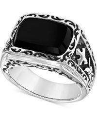 Scott Kay Men's Onyx (15 X 11mm) Ring In Sterling Silver - Metallic