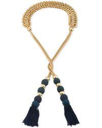 Trina Turk - Gold-tone Navy Tassel Open Lariat Necklace - Lyst