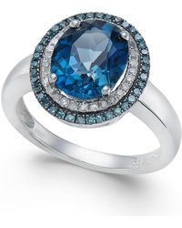 Macy's - London Blue Topaz (2-3/4 Ct. T.w.), Blue And White Diamond (1/3 Ct. T.w.) Oval Ring In 14k White Gold - Lyst