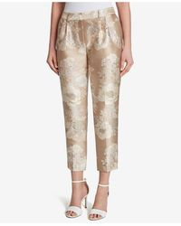 Tahari Metallic Floral Jacquard Pants
