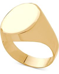 Macy's Polished Oval Signet Ring In 10k Gold - Metallic