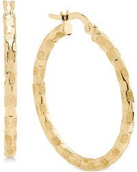 Macy's - Patterned Hoop Earrings In 14k Gold - Lyst