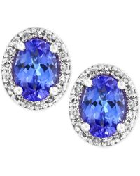 Effy Collection - Tanzanite (7/8 Ct. T.w.) Diamond (1/8 Ct. T.w.) Stud Earrings In 14k White Gold - Lyst