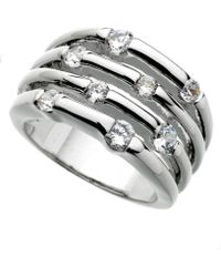 Guess - Ring, Silver-tone Four Row Crystal - Lyst