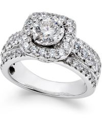 Macy's Diamond Halo Engagement Ring (2 Ct. T.w.) In 14k White Gold - Metallic