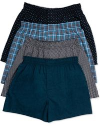 Hanes Platinum Underwear, Plaid Woven Boxer 4 Pack - Multicolor