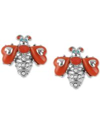 Betsey Johnson - Silver-tone Pavé & Stone Bee Stud Earrings - Lyst