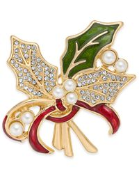 Charter Club Holiday Lane Gold-tone Pavé & Imitation Pearl Holly Pin, Created For Macy's - Metallic