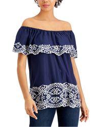 Fever Embroidered Off-the-shoulder Top - Blue