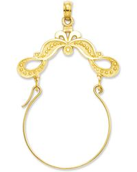 Macy's - 14k Gold Charm Holder, Polished Ribbon Decorated Charm Holder - Lyst