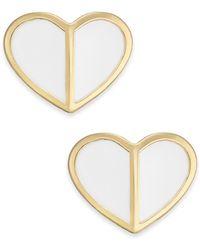 Kate Spade Gold-tone Heart Stud Earrings - White