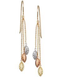 Macy's - Tri-color Beaded Chain Drop Earrings In 10k Yellow, White And Rose Gold - Lyst