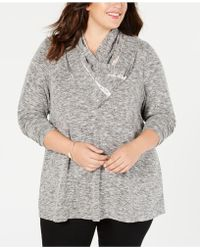 Style & Co. - Plus Size Lace-trimmed Cowl-neck Top, Created For Macy's - Lyst