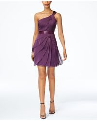 Adrianna Papell | One-shoulder Tiered Chiffon Dress | Lyst