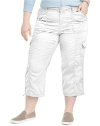 Style & Co. Plus Size Cotton Bungee Cargo Capri Pants, Created For Macy's - White