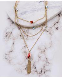 Catherine Malandrino Multicolored Geometric Rhinestone Yellow Gold-tone Layered Rolo Chain Tassel Earrings - Metallic