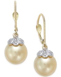 Macy's Cultured Golden South Sea Pearl (10mm) And Diamond Accent Earrings In 14k Gold - Natural