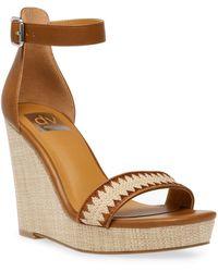 DV by Dolce Vita Harla Platform Raffia Wedge Sandals - Brown