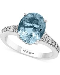 Effy Collection Gemstone Bridal By Effy® Aquamarine (3-1/10 Ct. T.w.) & Diamond (1/4 Ct. T.w.) Ring In 18k White Gold - Blue