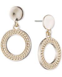 DKNY - Textured Drop Hoop Earrings - Lyst
