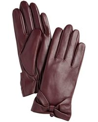 Charter Club Leather Bow Glove, Created For Macy's - Purple
