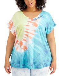 Style & Co. Plus Size Graphic Print V-neck T-shirt, Created For Macy's - Blue