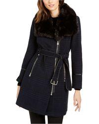 INC International Concepts Inc Asymmetrical Plaid Faux-fur-collar Coat, Created For Macy's - Black