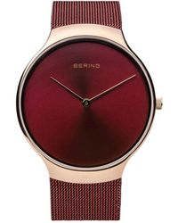 Bering Charity Stainless Steel Case And Mesh Watch - Red