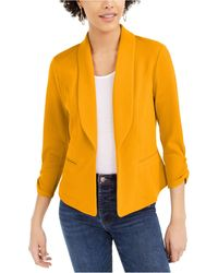 Bar Iii Knit-crepe Ruched-sleeve Blazer, Created For Macy's - Yellow
