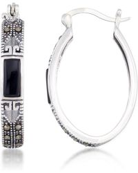 Macy's Onyx (7.5 X 5.3mm) & Marcasite Oval Hoop Earrings In Sterling Silver - Metallic