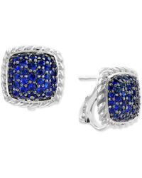 Effy Collection - Effy® Sapphire Cluster Stud Earrings (1-5/8 Ct. T.w.) In Sterling Silver - Lyst
