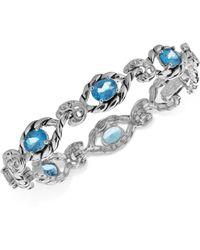 Carolyn Pollack Blue Topaz Open Link Bracelet (7-3/4 Ct. T.w.) In Sterling Silver