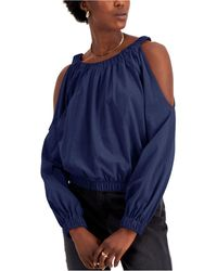 INC International Concepts Cotton Cold-shoulder Top, Created For Macy's - Blue